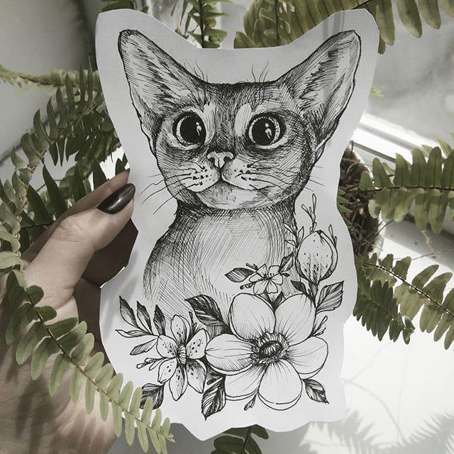 Кот. Эскизы тату (120 фото)61