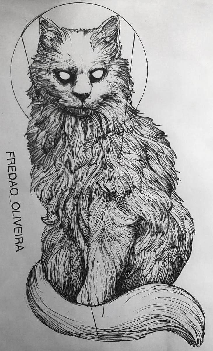 Кот. Эскизы тату (120 фото)71