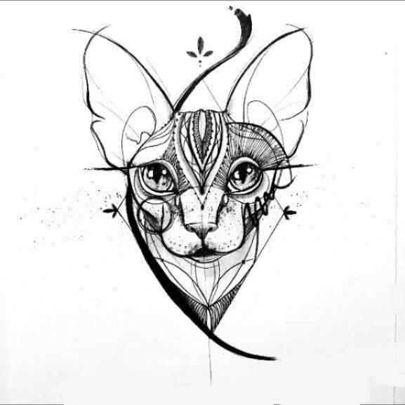 Кот. Эскизы тату (120 фото)82