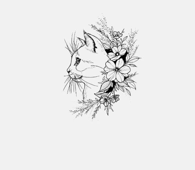Кот. Эскизы тату (120 фото)84