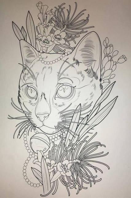 Кот. Эскизы тату (120 фото)29