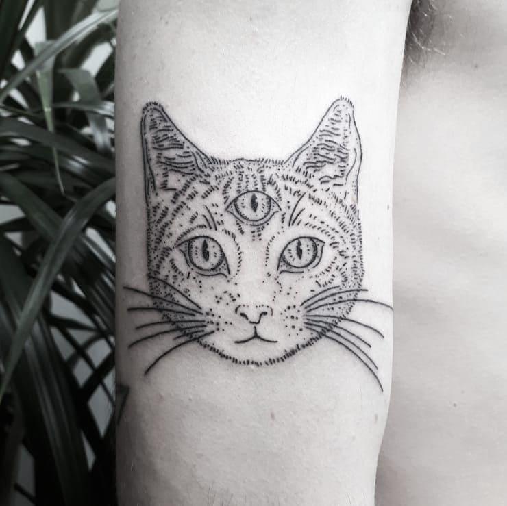 Кот. Эскизы тату (120 фото)95