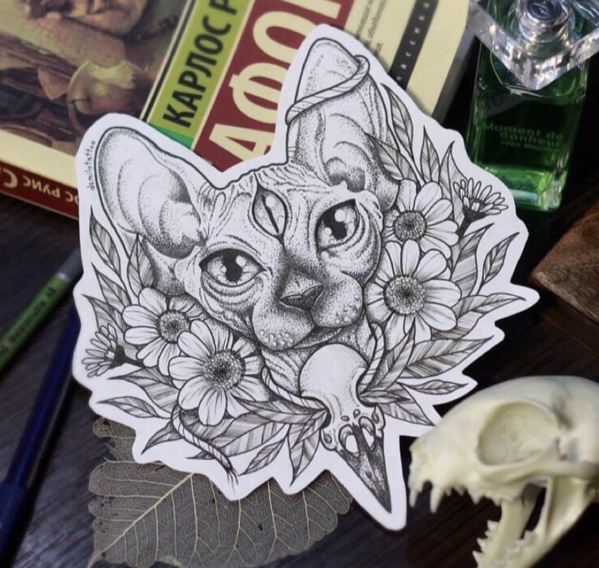 Кот. Эскизы тату (120 фото)97