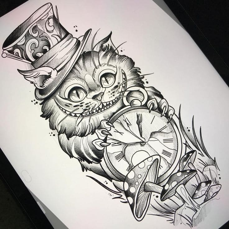 Кот. Эскизы тату (120 фото)98