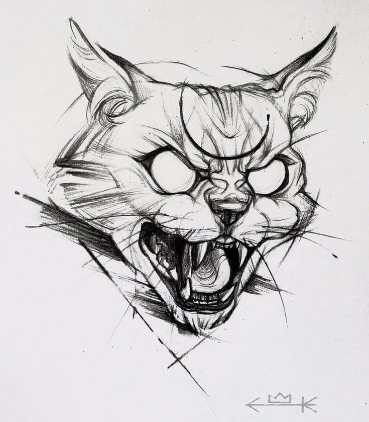 Кот. Эскизы тату (120 фото)100