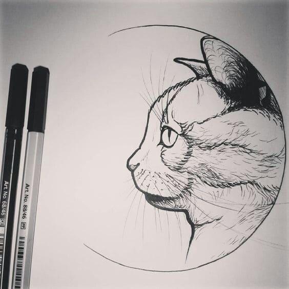 Кот. Эскизы тату (120 фото)102