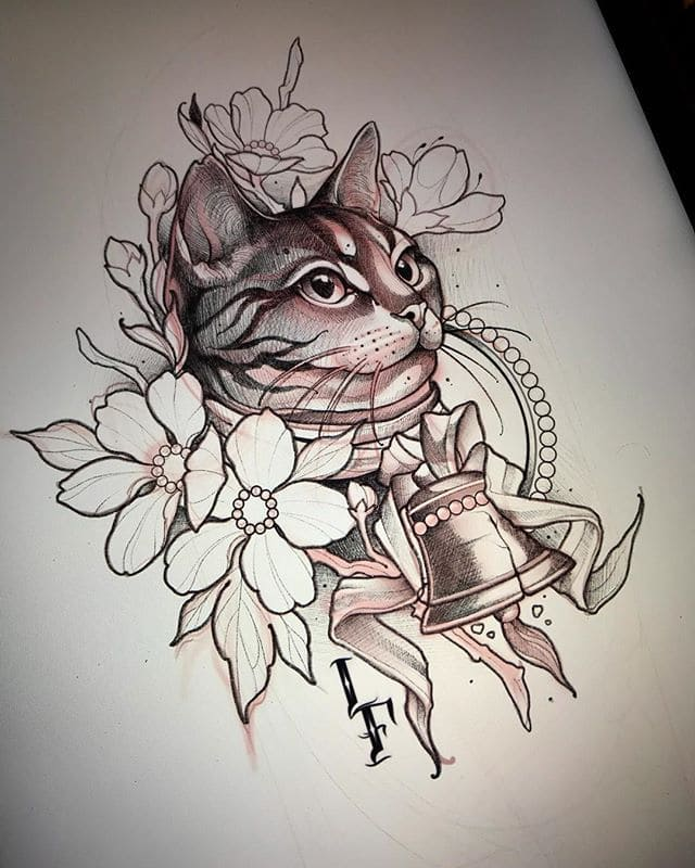 Кот. Эскизы тату (120 фото)103