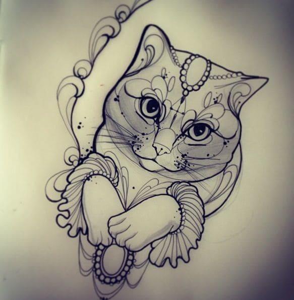 Кот. Эскизы тату (120 фото)31