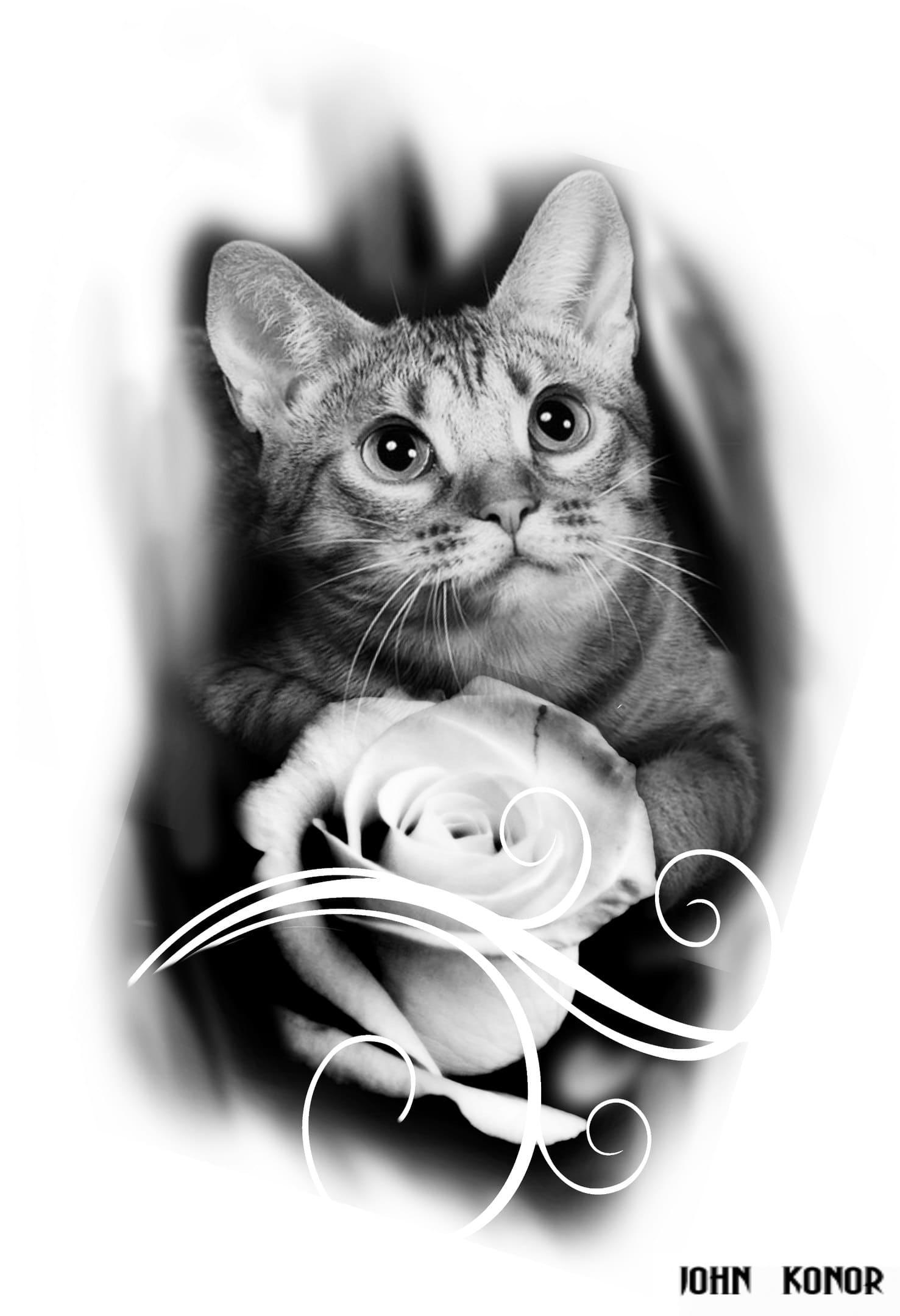 Кот. Эскизы тату (120 фото)13