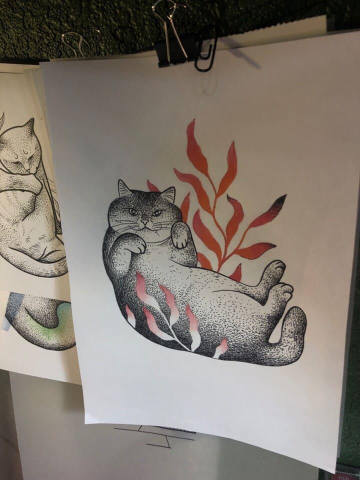 Кот. Эскизы тату (120 фото)6