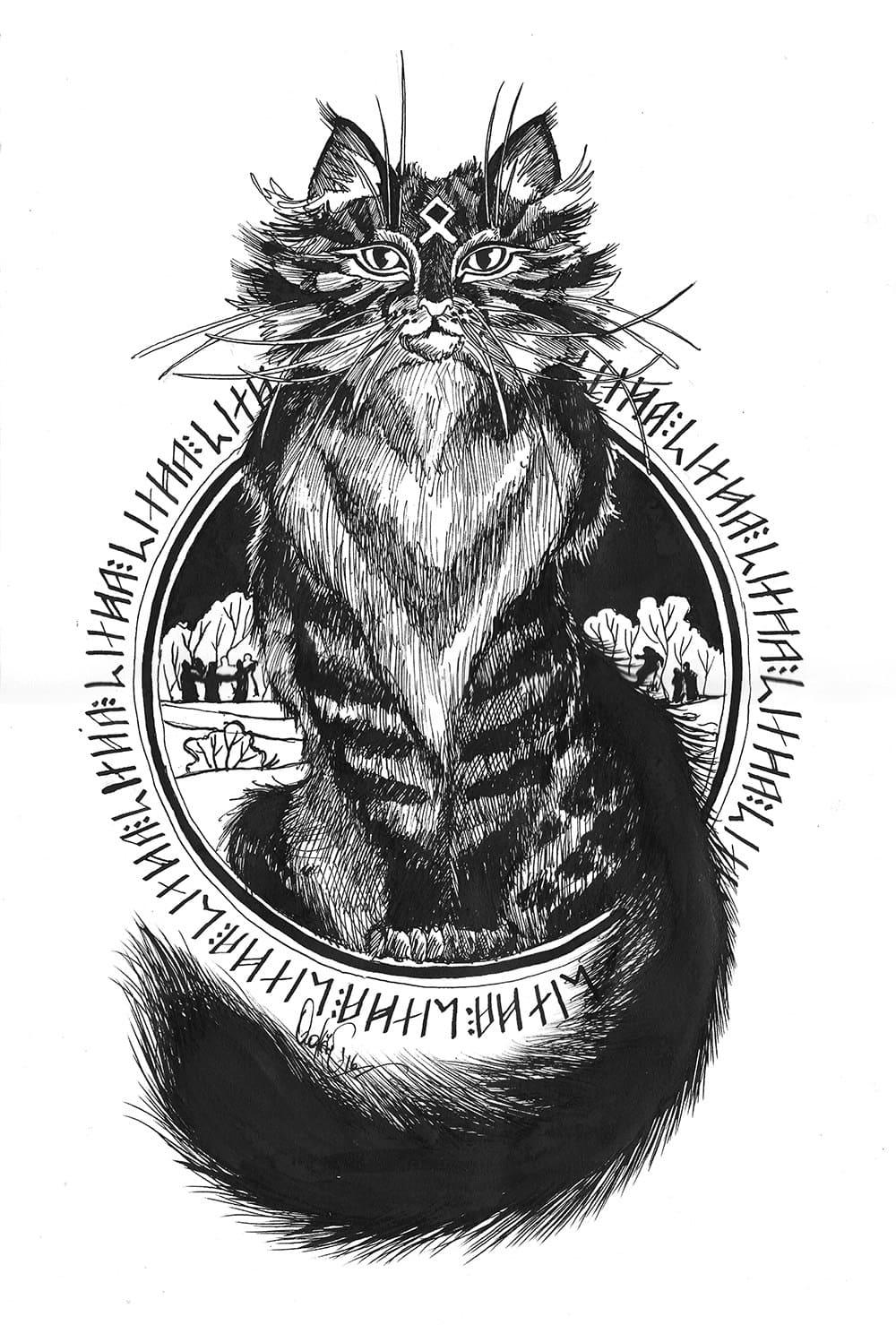 Кот. Эскизы тату (120 фото)15
