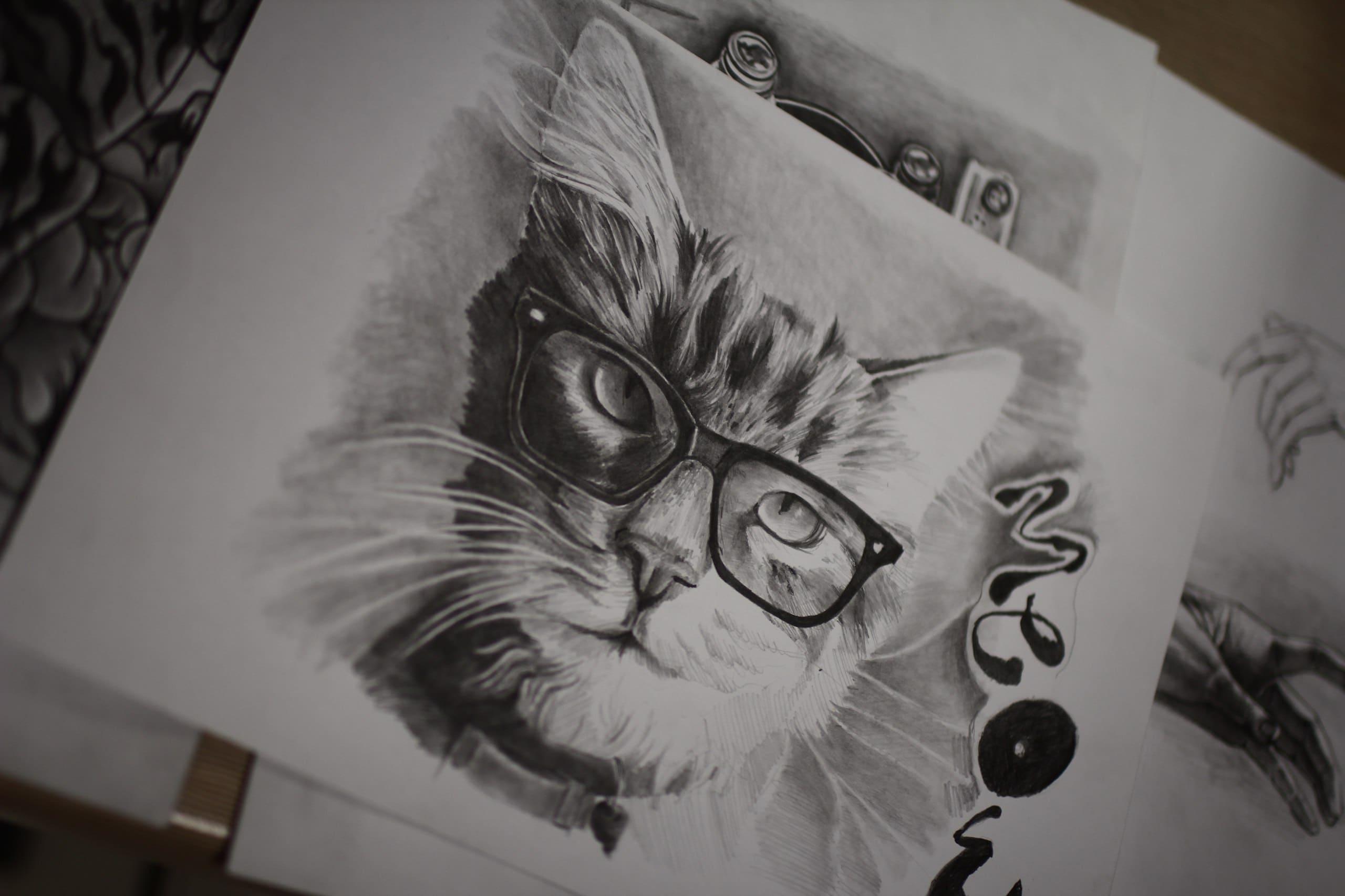 Кот. Эскизы тату (120 фото)3