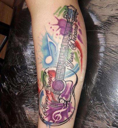 Тату гитара цветная