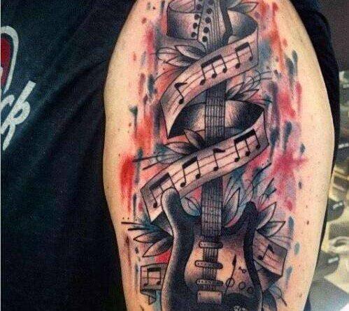 Тату гитара и ноты