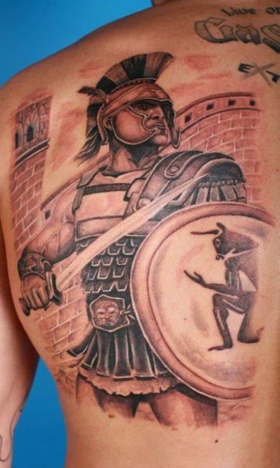Тату гладиатор с щитом